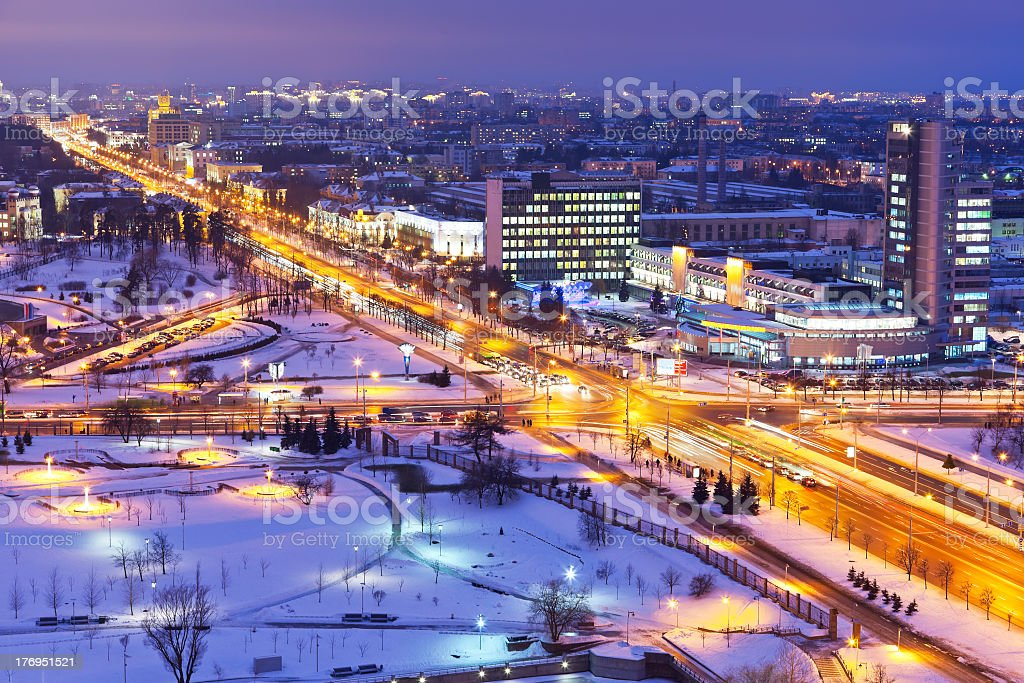A night time panorama of Minsk, Belarus in winter stock photo