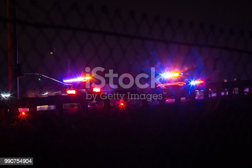 Night Time Police Intervention in a check point for DUI