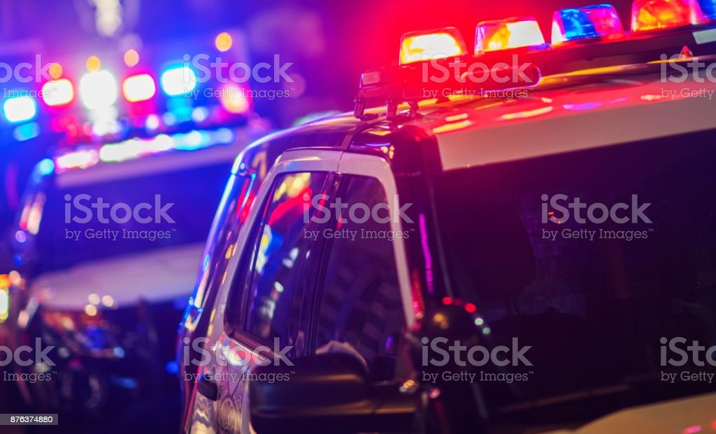 Night Time Police Intervention stock photo
