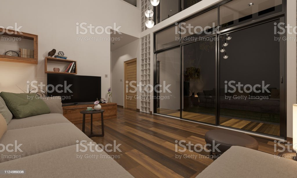 Night Time Rendering Of Living Room And The Patio Stock Photo