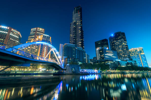 Night time skyline and Yarra river in Melbourne, Australia stock photo