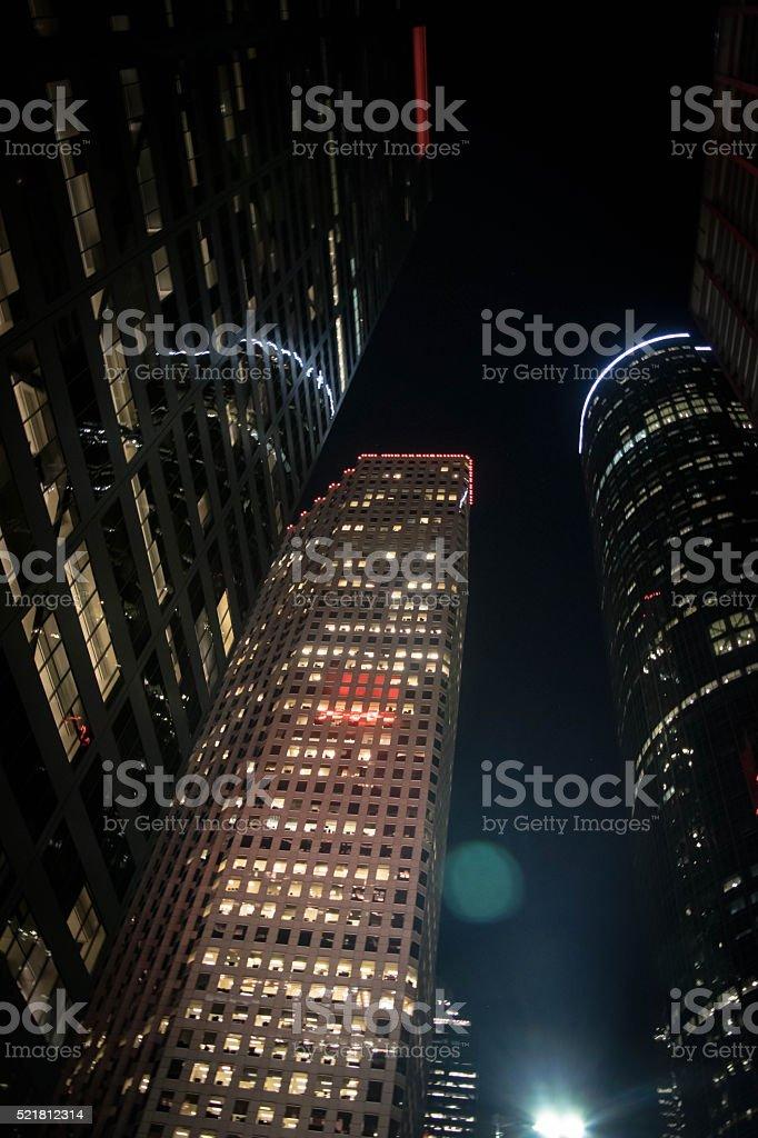 Night Time Skyscrapers stock photo