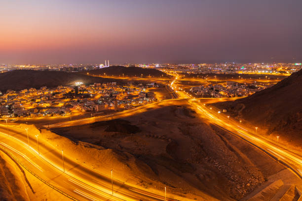 Night time view of roads in Muscat. stock photo