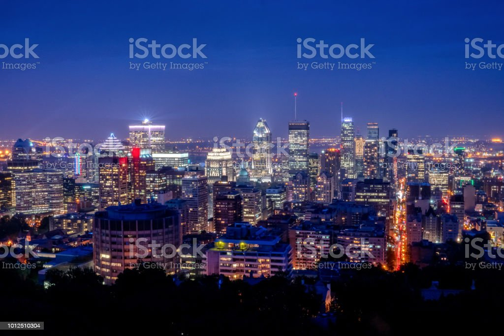 Night Time View of the City Scape in Montreal, Quebec Canada stock photo