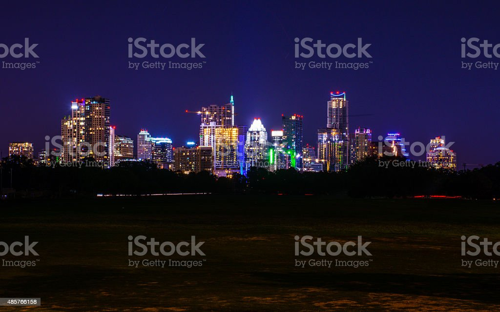 Night Time Zilker Park Austin Texas Alone in the Park stock photo