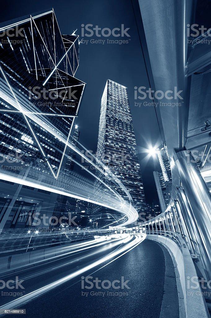 Night traffic and city stock photo