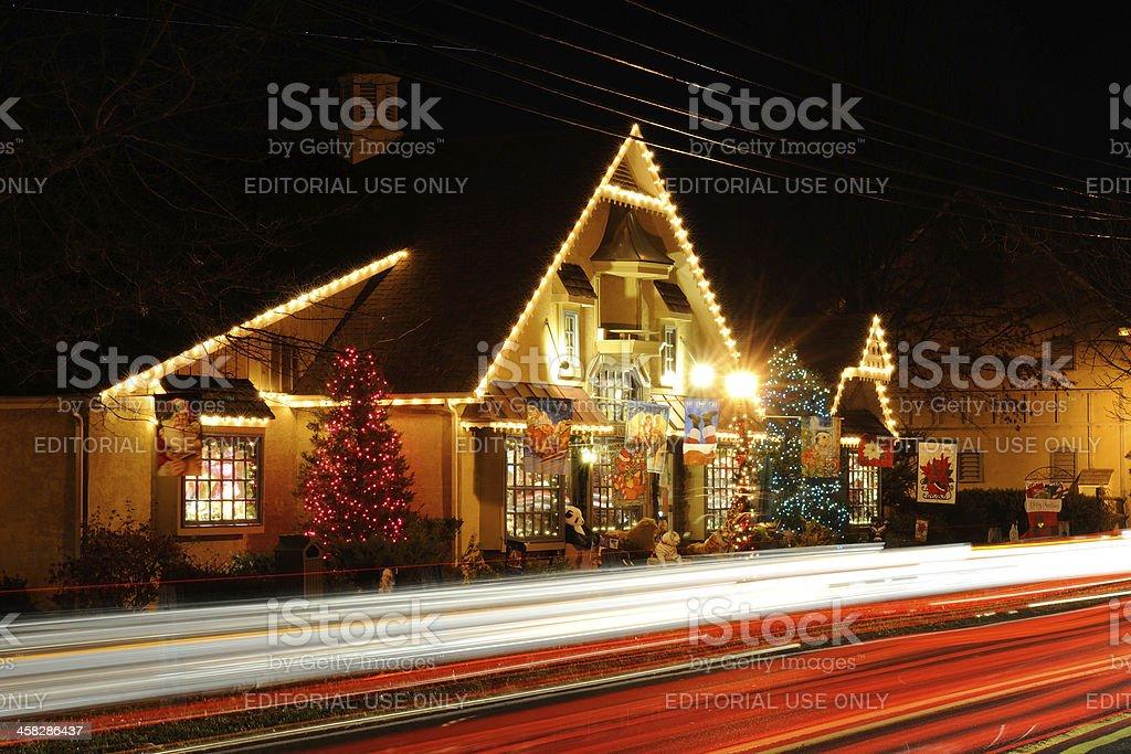 Night Traffic at Peddler's Village stock photo