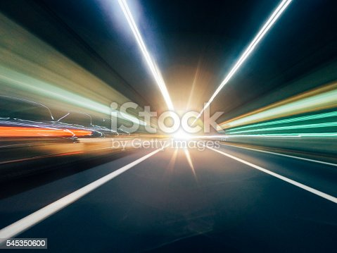 istock Night Traffic - Going Fast With Car 545350600