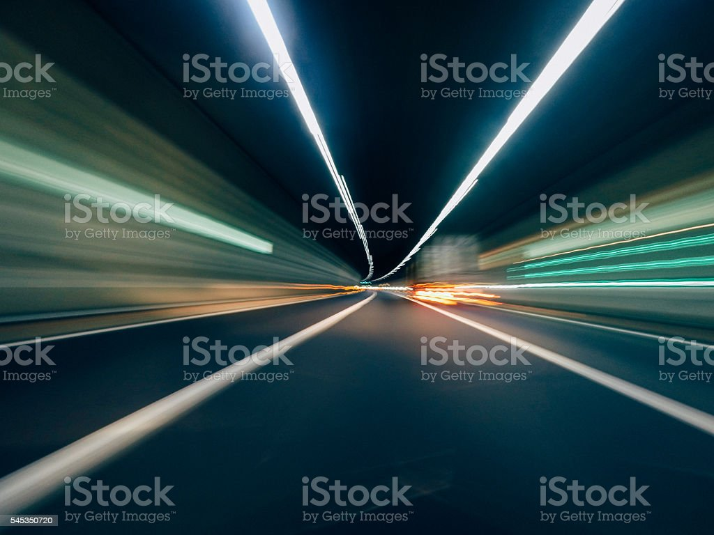Night Traffic - Going Fast With Car stock photo