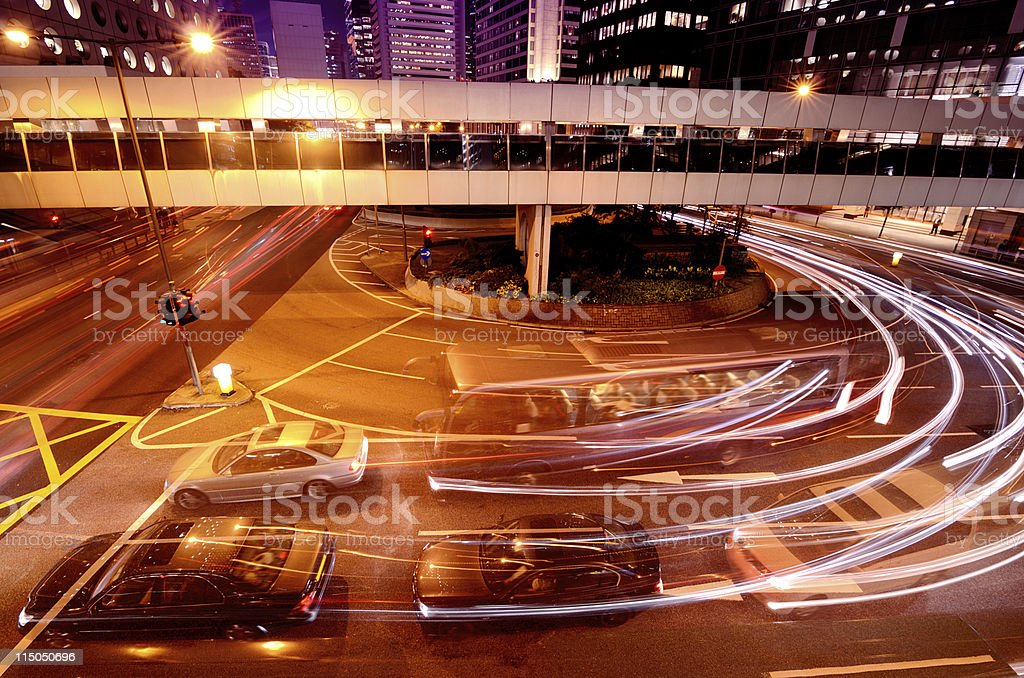 Night Traffic Hong Kong royalty-free stock photo