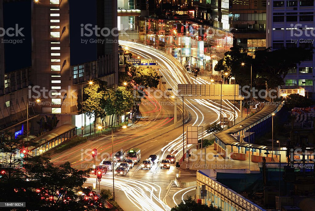 Night Traffic Hong Kong royalty-free stock photo