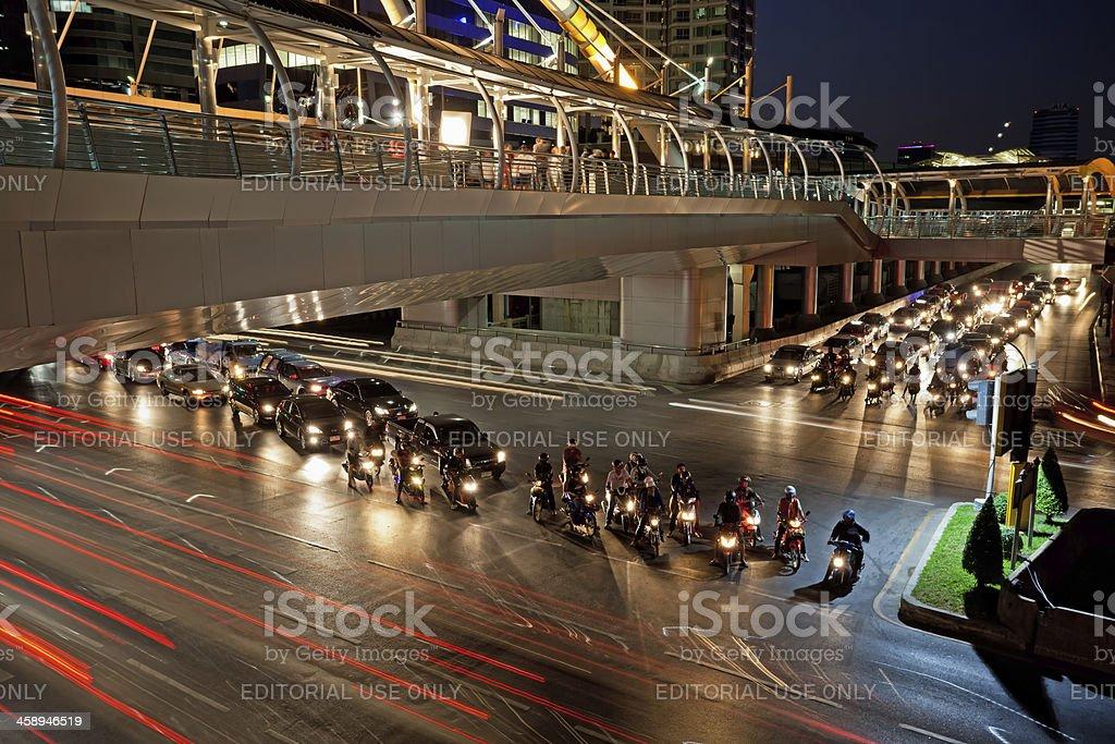Night Traffic in Bangkok, Thailand royalty-free stock photo