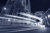 Night Traffic in downtown of  Hong Kong city