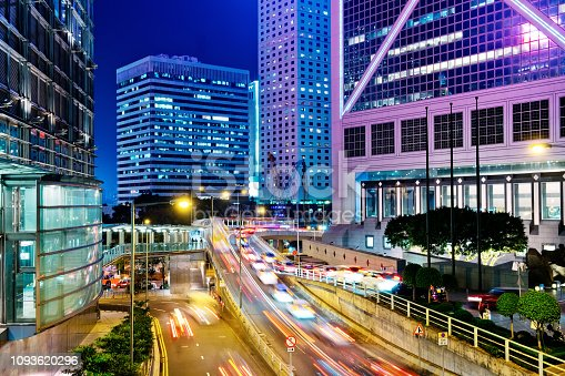860696690 istock photo Night Traffic in Hong Kong 1093620296