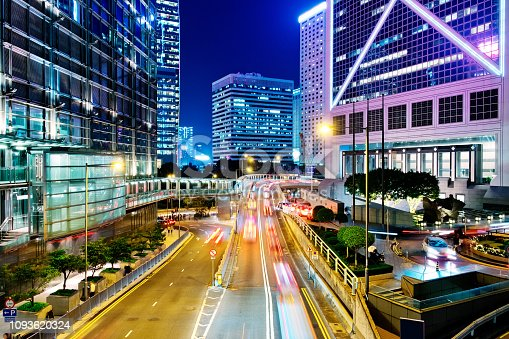 860696690 istock photo Night Traffic in Hong Kong 1093620324