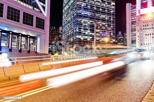 860696690 istock photo Night Traffic in Hong Kong 1093893788