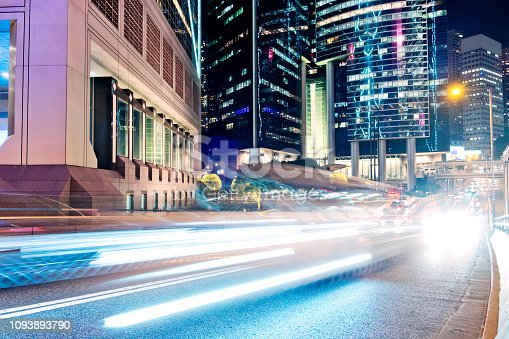 860696690 istock photo Night Traffic in Hong Kong 1093893790