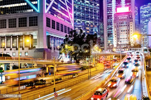 860696690 istock photo Night Traffic in Hong Kong 1093893816