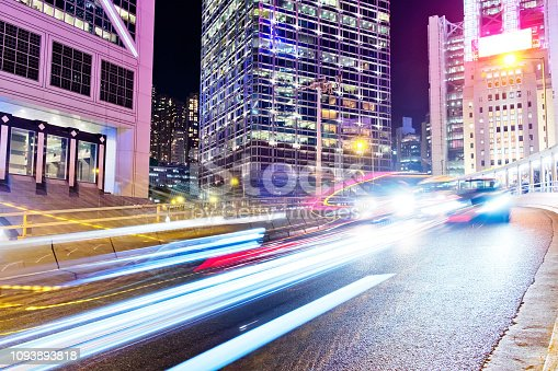 860696690 istock photo Night Traffic in Hong Kong 1093893818