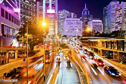 860696690 istock photo Night Traffic in Hong Kong 1094067658