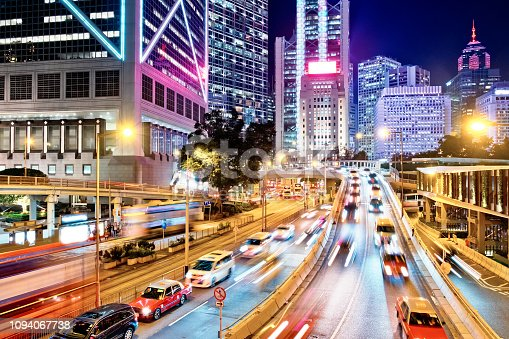 860696690 istock photo Night Traffic in Hong Kong 1094067738