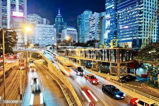 860696690 istock photo Night Traffic in Hong Kong 1094068914