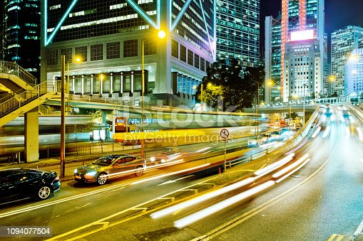 860696690 istock photo Night Traffic in Hong Kong 1094077504