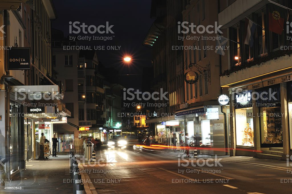 Night Traffic in Interlaken royalty-free stock photo