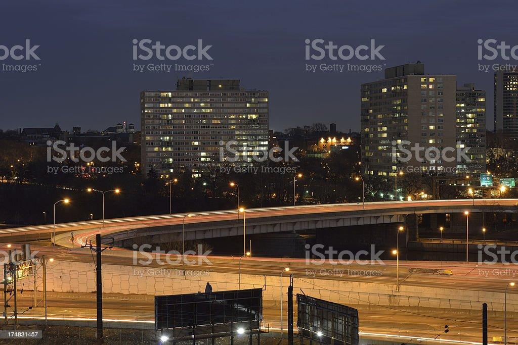 Night Traffic in Philadelphia royalty-free stock photo