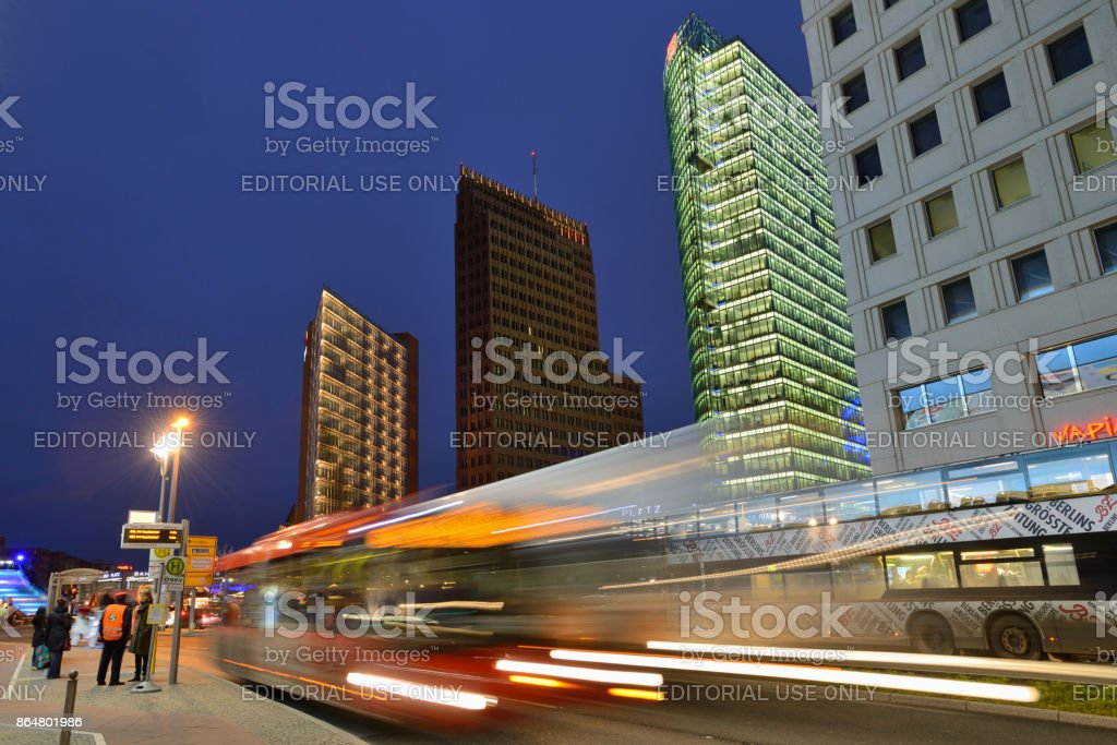 Night traffic in Potsdamer platz, Berlin stock photo