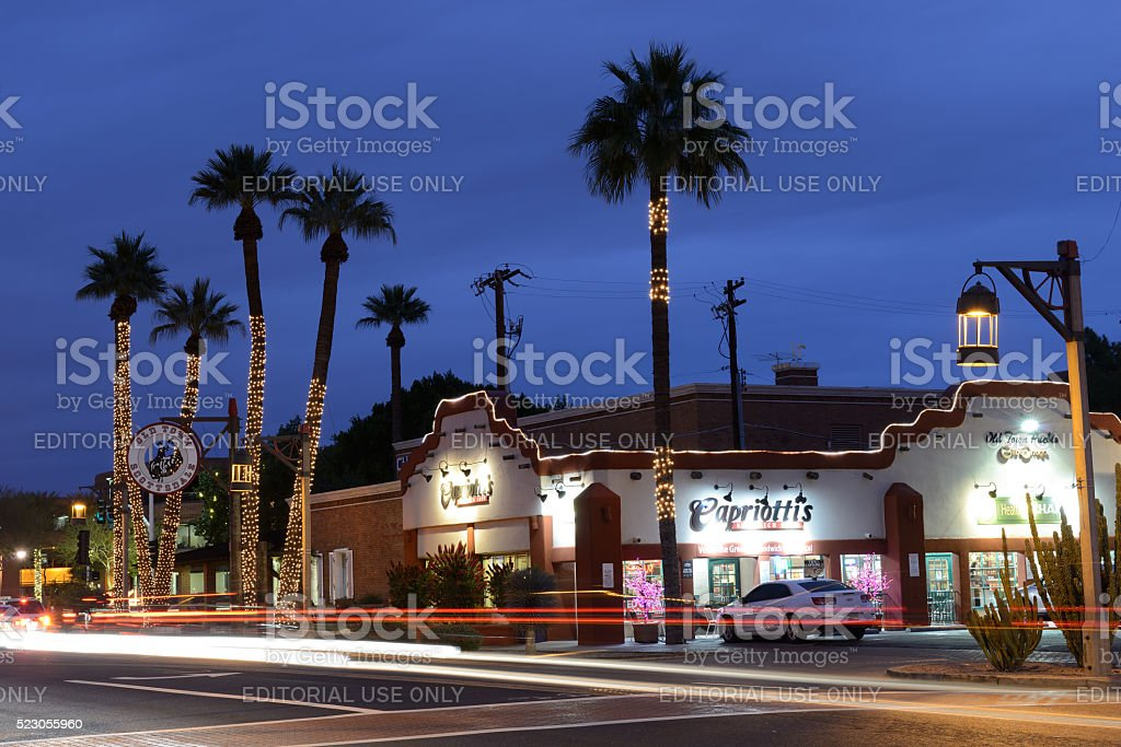 Night traffic in Scottsdale stock photo