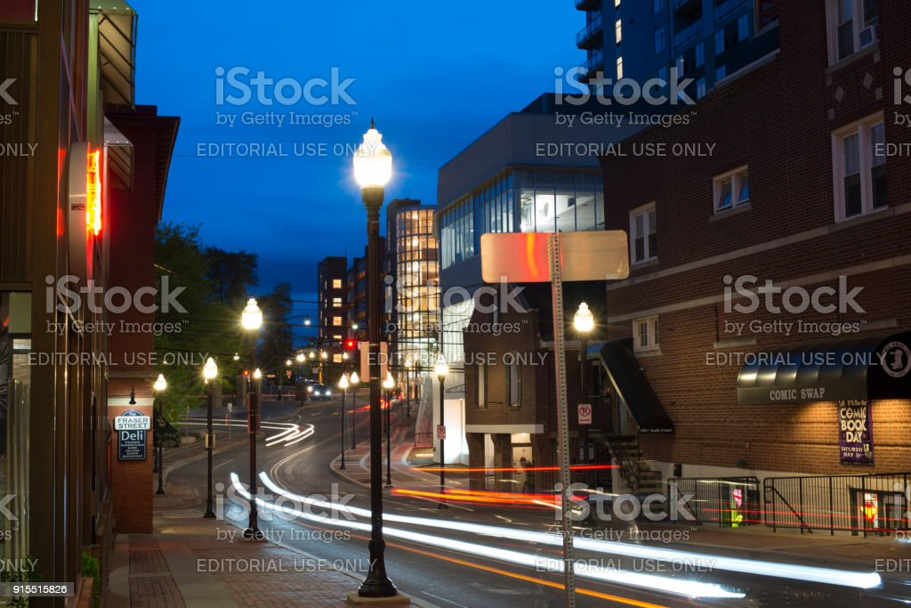 Night traffic in State College stock photo
