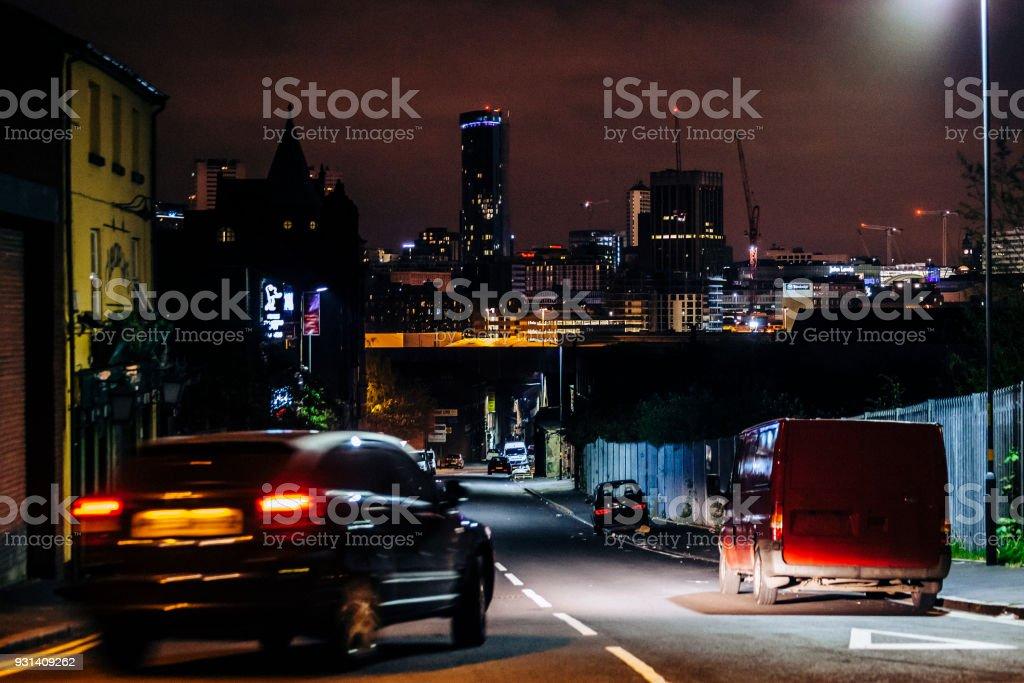 Night traffic in the city - Birmingham, UK stock photo