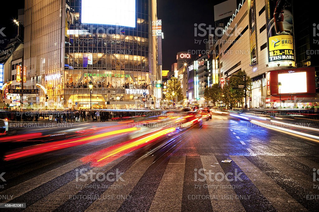 Night Traffic in Tokyo royalty-free stock photo