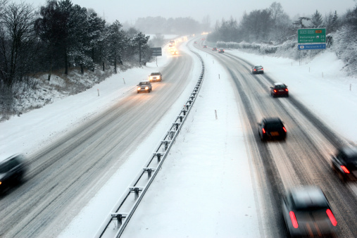 Night Traffic In Winter Stock Photo - Download Image Now
