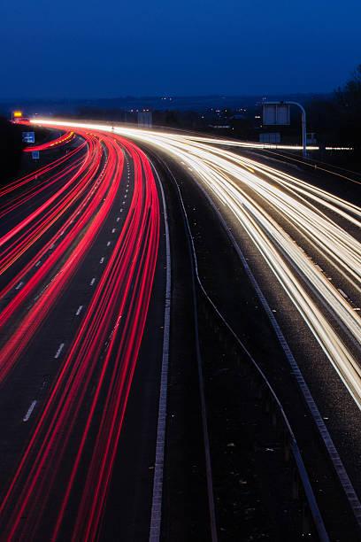 night traffic lights stock photo