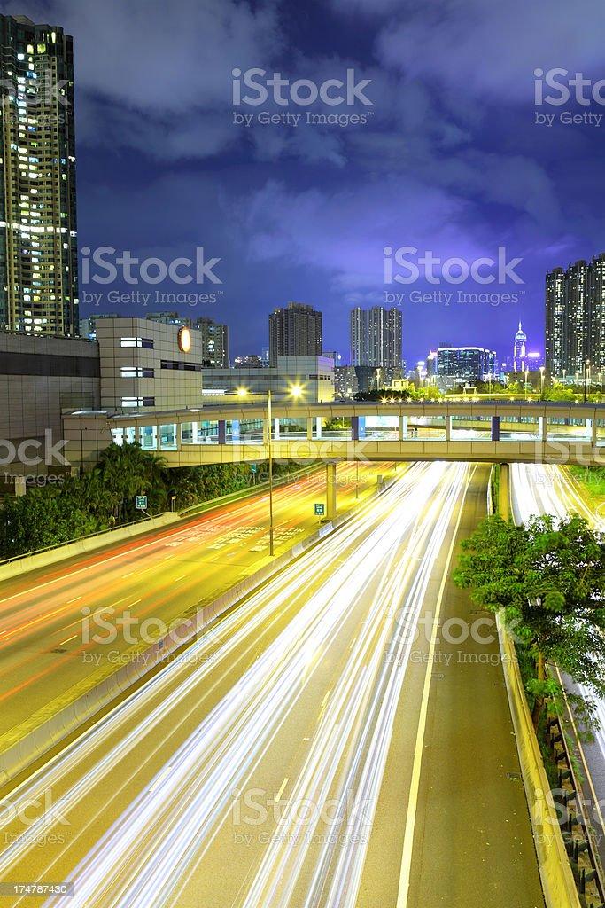 night traffic on highway royalty-free stock photo