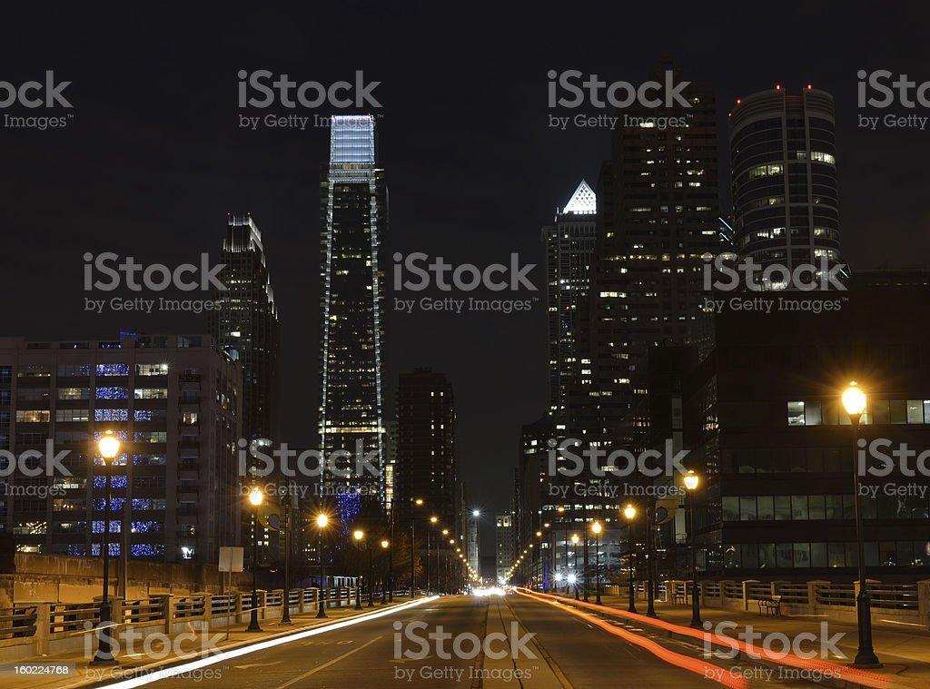 Night Traffic on JFK Boulevard in Philadelphia royalty-free stock photo