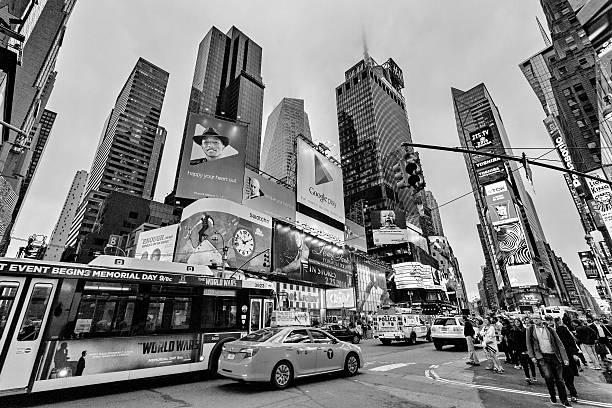 Night traffic Times square, New York, Midtown, Manhattan - foto de stock