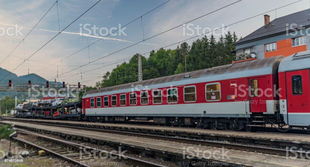 Night train from Prague in station Ruzomberok stock photo