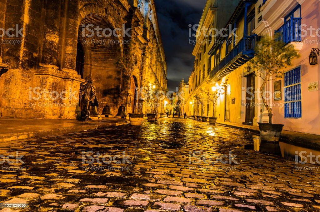 Night travel photography in Havana, Cuba. The colonial architecture...