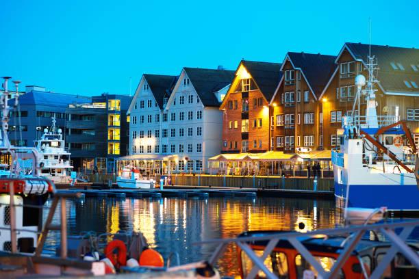 Night Tromso postcard background stock photo