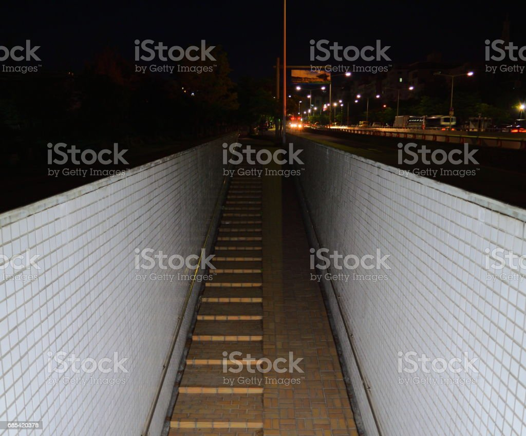 Night, Tunnel going down to the basement foto de stock royalty-free