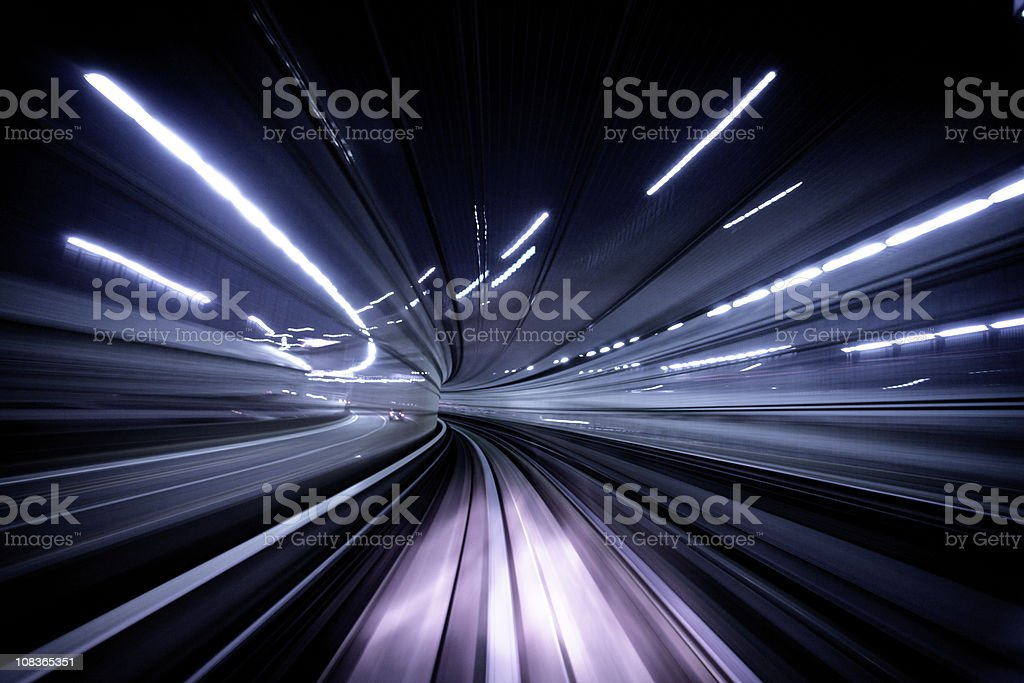 Night tunnel stock photo