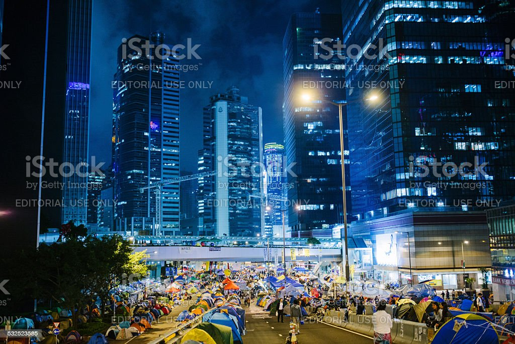 Night, Umbrella Movement, Hong Kong stock photo