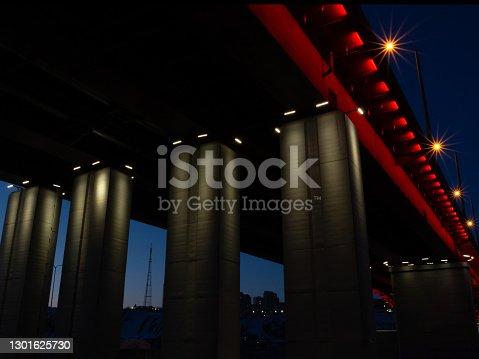 istock Night under the bridge. Abstract urban background 1301625730
