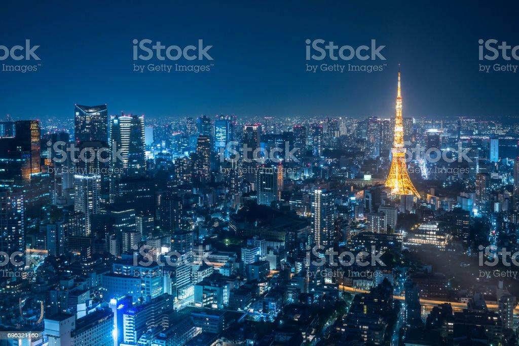 Night urban skyline and Tokyo Tower stock photo