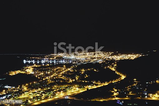 Aerial view of Ushuaia city at night, Argentina