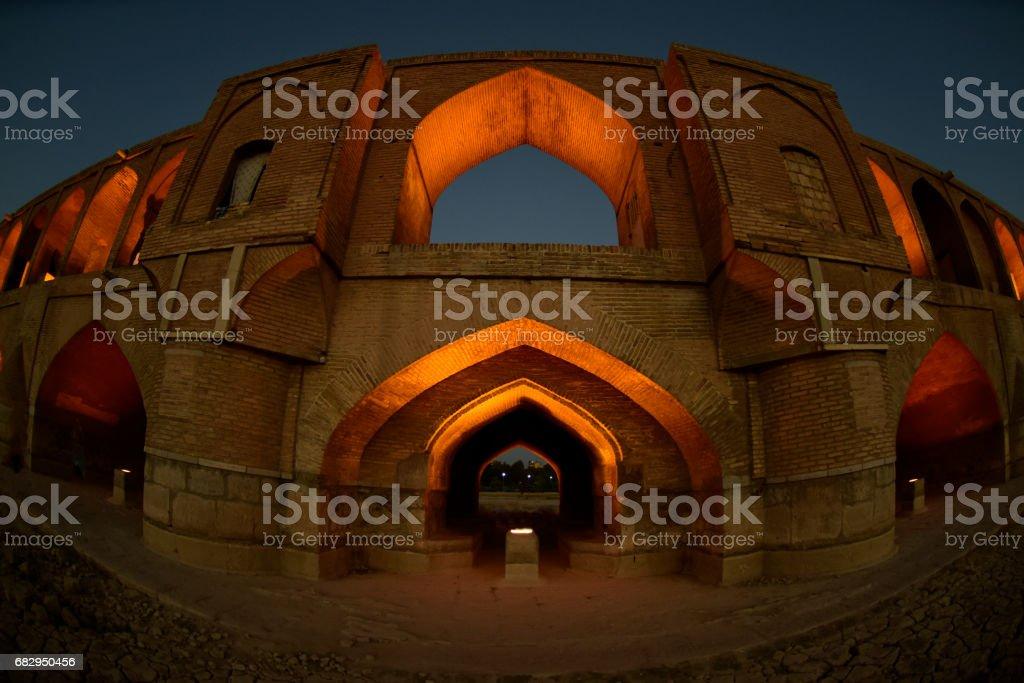 Night View Allahverdi Khan Bridge, Zayandeh River, Isfahan, Iran royalty-free stock photo