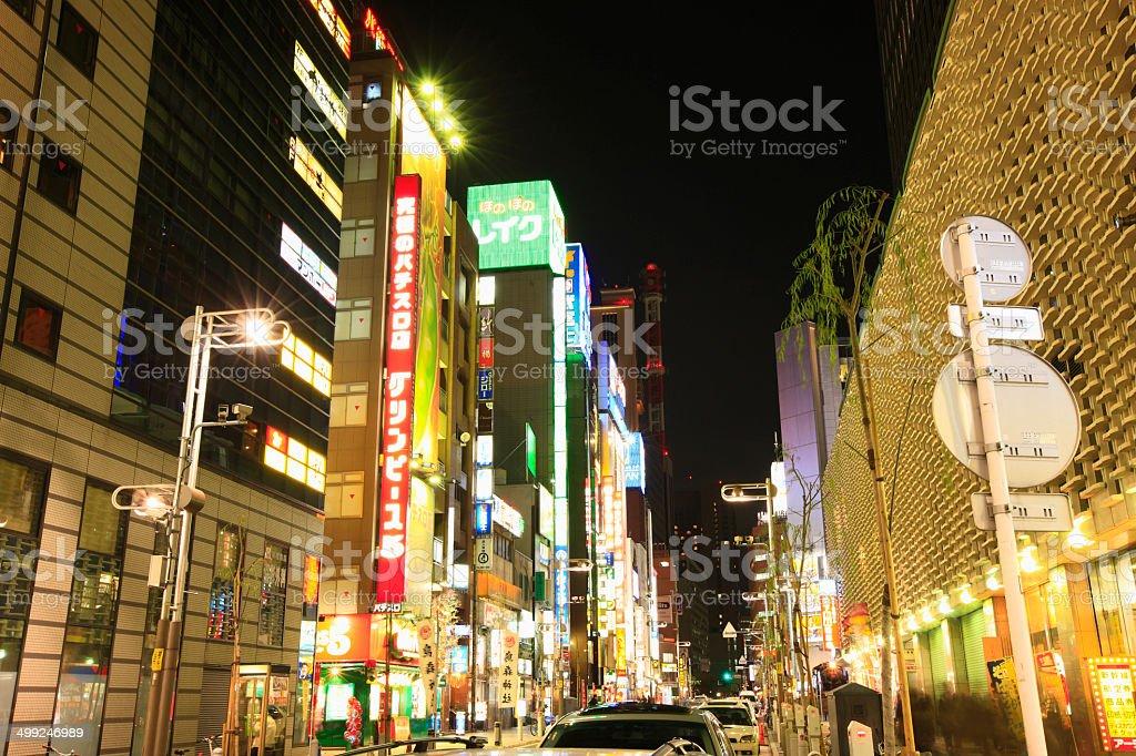 Night View Around Downtown Shinbashi 2-chome stock photo